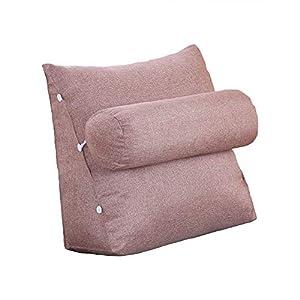 VERCART cojín de lectura Triangular polochon ajustable de sofá cama Wedge pillow bodega cuello apoyo dos (lino, desenfundable, lino, café, 60x50x22cm