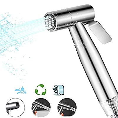 Handheld Bidet Sprayer for Toilet, Adjustable Water Stream, Baby Cloth Diaper Sprayer, Easy to Install, Multi-use Spray Attachment with Hose for Personal Hygiene and Bathroom Cleaning, Stainless Steel