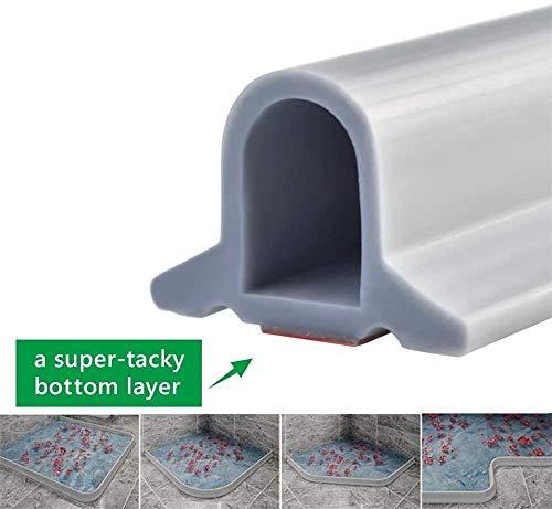 Zusammenklappbarer Duschschwellen-Wasserdamm, ideal für rollstuhlgerechte, barrierefreie Duschen, Dusche Bad Boden Dichtung Wasserdamm Duschschwelle Barriere-Wasserstopper (150 CM,Grau)