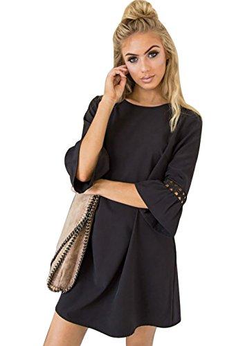 Aitos A Linie Kleider Damen 3/4 Arm Sommerkleid Tunika Elegante Minikleider Strandkleider Partykleid Schick Causal Lose Schwarz S/Brust 94cm