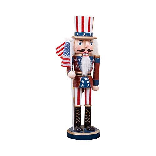 lingzhuo-shop Nussknacker Soldat Figuren Puppen Holz Puppe Figur Festliche Weihnachts Deko 25CM Klassische Amerikanische Soldat Form Hölzerne Fertigkeit Verzierung