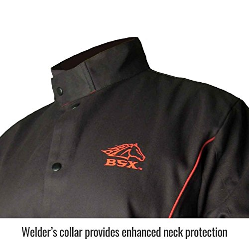 Revco BSX B9C 9oz. Black/Red Cotton Welding Jacket, Flame Resistant L