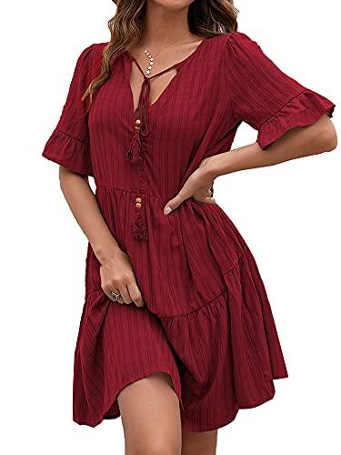 Vestido casual con volantes para mujer, manga corta, cuello en V, línea A, suelto, con columpio, vestido midi