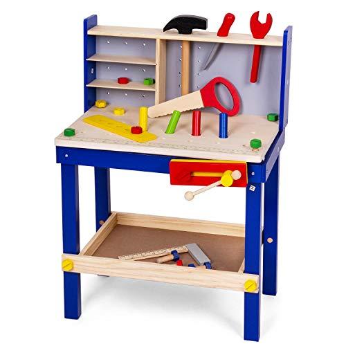 Leo & Emma - Banco de trabajo infantil con herramientas de madera lacada en azul, 50 piezas, banco de trabajo para niños de madera, banco de madera para niños, fabricado y barnizado de alta calidad.