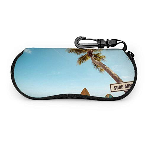 AEMAPE Tabla de surf vintage Palmera en estuche para gafas para niños Estuche para anteojos Estuche ligero portátil con cremallera de neopreno Estuche blando para múltiples lentes de sol