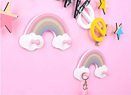 2 Stück Kindergarderobe mit 2 Haken,Regenbogen-Garderobe für Kinder,Wandgarderobe, Wandhaken, Kindermöbel Garderobenhaken Kinderzimmer