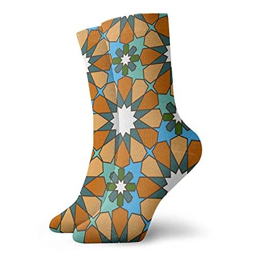 Paedto Marokkanisches Muster_1912 Malerei Kunstdruck Lustige Neuheit Tier Lässige Baumwolle Crew Socken 11,8 Zoll
