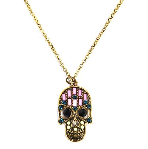 Zucker Schädel Halskette - zufällige Farbe