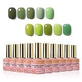 Manicura de primavera y verano, esmaltes uñas gel semipermanentes serie verde 10 colores, gel uñas UV LED soak off, kit de manicura y pedicura para decoración de uñas para salón