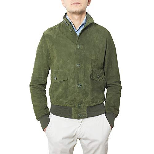 Alberto Zaccagnini Giacca in pelle da uomo | Bomber da uomo in vera pelle Scamosciata made in Italy | Giubbotto Primaverile | AZ0098 Suede (Verde, 48)