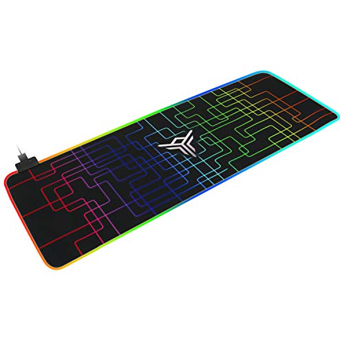 Soft RGB Gaming Mouse Pad Large, Oversized Glowing Mousepad with Non-Slip Rubber Base and Durable Stitched Edges for Gamger(Black)