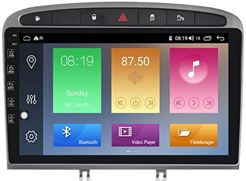 WYFWYT Android 9.0 Navegación GPS de navegación para automóviles GPS para Peugeot 408 2010-2016 con Soporte del Espejo Enlace Wi-Fi,4g+WiFi:2+32g