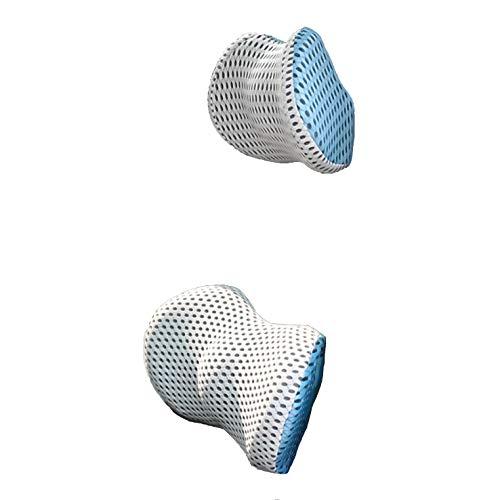 [Edel] ネックパッド クッション カー用品 ドライブ 姿勢 腰 背中 低反発 吸汗性 負担軽減 取り付け 簡単 白/青