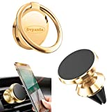 Phone Ring Holder Finger Kickstand Universal Finger Ring Stand with Magnetic Phone Car Mount Holder Car Air Vent Magnetic Mount Car Phone Holder for iphone12 iPhone11 Pro Xs Max XR X 8 etc (Gold)