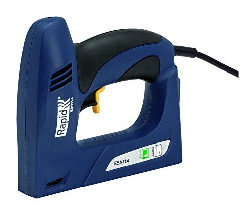 Rapid Agrafeuse électrique, Puissance +20%, Grande capacité, Agrafage près du mur, ESN114, 5000131 Bleu Agrafes No. 140 (6-14 mm)/Clous No. 8 (15 mm)