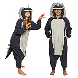 3. Silver Lilly FUNZIEZ! Plush Triceratops Adult Onesie