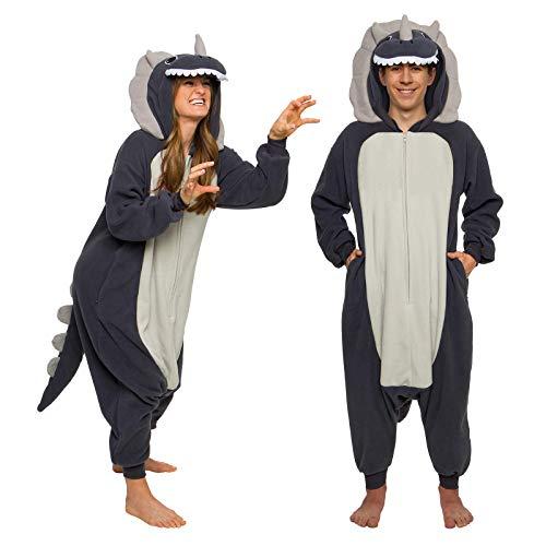 FUNZIEZ! Adult Triceratops Costume - Plush One Piece Dinosaur Costume - One Piece Pajamas(Grey, Large)