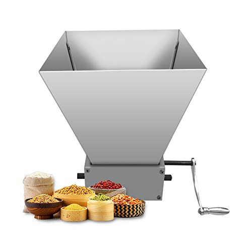 Home Brewing Malt Grain Crusher, Hand Crank Granulator Grinder High Power Grain Mills Manual Grain Silver (2 Stainless Steel Roller)