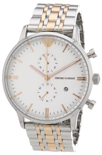Emporio Armani Herren-Armbanduhr XL Chronograph Quarz Edelstahl beschichtet AR0399
