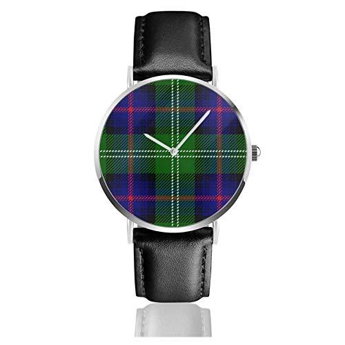 Reloj de cuero Clan Sutherland Scottish Tartan Plaid Unisex Clásico Casual Moda Reloj de Cuarzo Reloj de Acero Inoxidable con Correa de Cuero