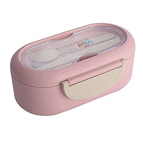 YHYH Caja de Almuerzo Bento Box para Adultos Caja de Almuerzo Contenedores con Cuchara Palillos, contenedor de Alimentos con 2 Compartimentos de Trigo Paja Ecoamilia ecol Pink