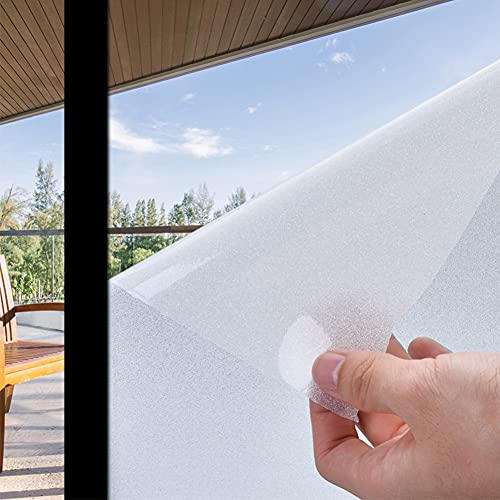Window Privacy Film Frosted Glass Window Clings for Privacy Non-Adhesive Anti UV Static Cling for Home Shower and Office 78.7 x 17.7 Inches