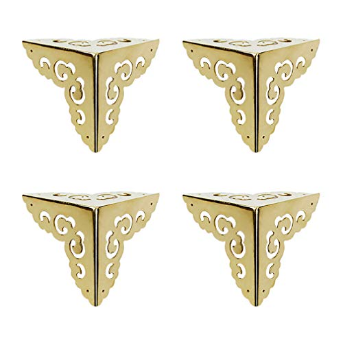 Tiazza 4Pcs Vintage Pure Brass Hollow Cloud Pattern Corner Protectors Antique Hardware Desk Edge Wooden Jewelry Gift Box Cabinet Three Sides Full Encase Corner Guard Gold Tone
