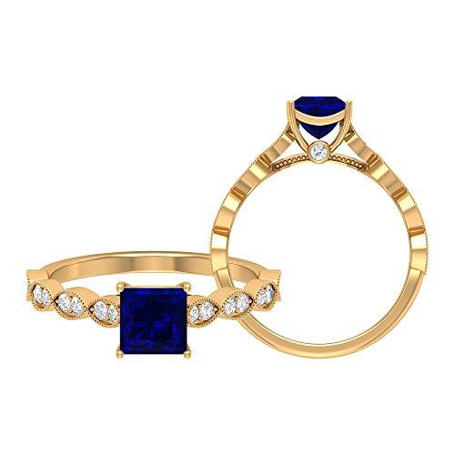 Anillo de zafiro azul de corte princesa de 5,50 mm, anillo de moissanita, anillo de oro blanco sólido, anillo solitario con piedra lateral, anillo de marquesa, oro de 18 quilates blanco