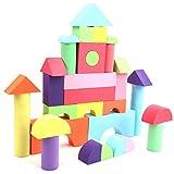 Juguetes de bloques de construcción multicolores para niños, 52 piezas de bloques de construcción de espuma EVA no tóxicos para desarrollar la capacidad de coordinación ojo-mano de los niños