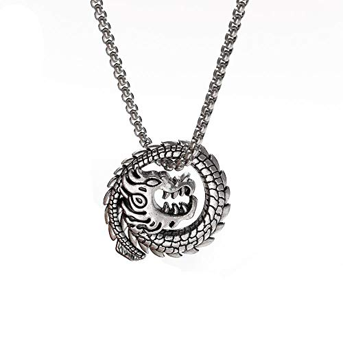 Naswi Antique Silver Color Chinese Dragon Amulet Pendant Necklace Punk Stainless Steel Long Box Chain Necklaces Jewelry for Men