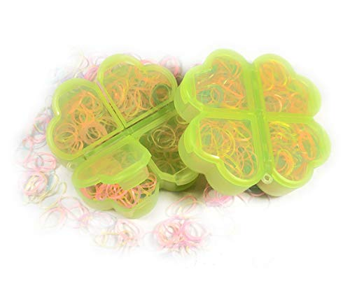 HAIR BANDS on the GO-GO Tiny Ponytail Rubber Bands Baby Girl Toddler Hair Tie Elastic, Plastic Case, Colors May Vary