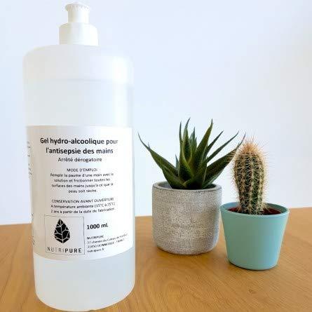 Gel hydroalcoolique, Recharge de 1 Litre - désinfectant & antibactérien - Odeur Neutre - Sans rinçage - Fait en France. Conforme à la réglementation et aux recommandations de l'OMS. NUTRIPURE