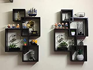 WOOD KARTINDIA Intersecting Wall Shelf for Wall Decoration/Enter lock Wall Shelves/Wall Rack for Home Decor/Book Shelf for...
