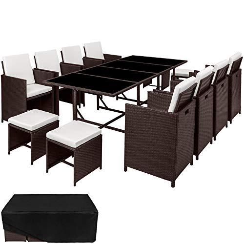 TecTake 800823 Poly Rattan 8+4+1 Sitzgruppe, 8 Stühle 4 Hocker 1 Tisch, als Würfel verstaubar, inkl. Schutzhülle & Edelstahlschrauben (Mixed Braun   Nr. 403863)