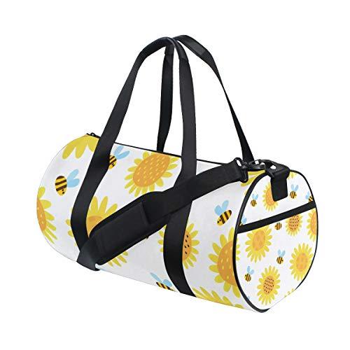 ZOMOY Bolsa de Deporte,Colección Floral Flores Set Cinco Girasoles,Nuevo Cilindro de impresión Bolsas de Ejercicios Bolsa de Viaje Equipaje Bolsa de Lona