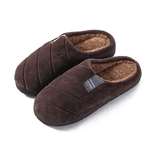 KIKIGO Zapatillas Hombre casa Invierno,Zapatillas de algodón Antideslizantes para el hogar de Invierno, Zapatillas de Suela Gruesa cálidas para Interiores y Exteriores.-marrón_EU 41
