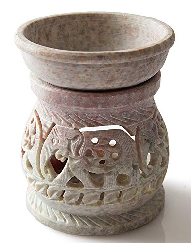 starzebra ätherisches Öl Diffusor, Brenner, Öl, Stövchen mit Teelicht Halter für Aromatherapie–Handwerker handgeschnitzten Speckstein 7,6cm mit aufwändigen Elefant Design