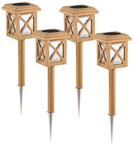 Lunartec Teakholz Outdoor Solarlampe 4er-Set
