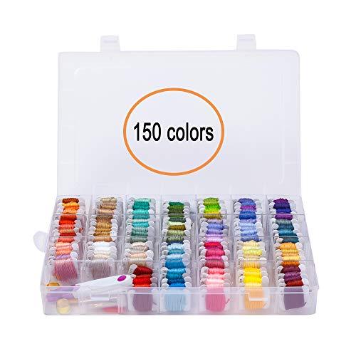 YAOYUE Stickgarn, Kreuzstichfäden, Freundschaftsarmband, Bastelgarn mit Aufbewahrungsbox, groß, vorgewickelt, Kreuzstich-Set L 150 Farben mit Organizer