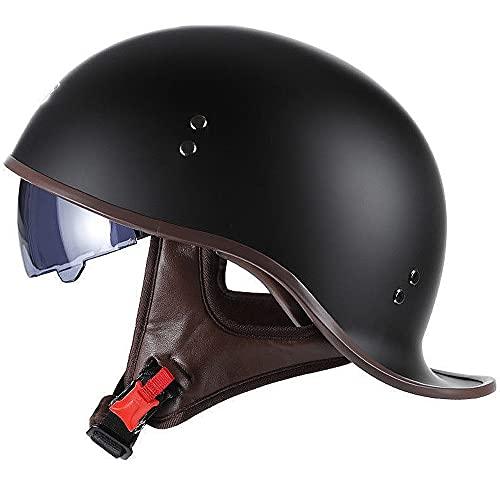 ACLFF Halbschalenhelm Schwalbenschwanz-Design Motorrad-Helm, Helm Roller mit Visier Einstellbar Schnellverschluss-Gurt, für Cruiser Chopper Biker Moped DOT/ECE-Zulassung