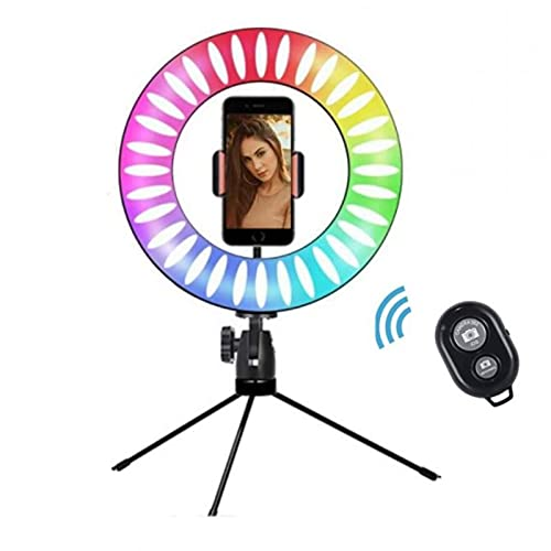 XCUGK Anillo de luz LED RGB Ring Light 15 Colores RGB y 3 Modos Normales con Trípode y Soporte de Teléfono Control Remoto Bluetooth para Selfie Transmisión en Vivo Maquillaje Vlog Webcam