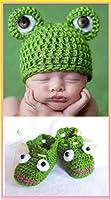 Scarpe e cappello per bambino, scarpine e cappello per neonato, scarpe e cappello per bebe rana