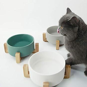 HCHLQLZ Blanc Pet Gamelles pour Chien et Chat Gamelles Chien Chat Céramique Support Bambou -Va au Lave-Vaisselle et Facile à Nettoyer
