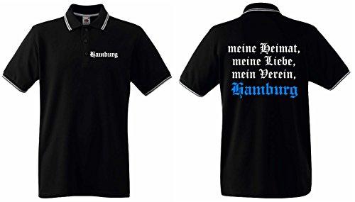 Fruit of the Loom Hamburg Retro Polo Shirt Meine Heimat Meine Liebe Mein Verein Ultras|XL|KT1