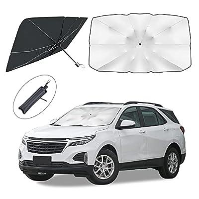 Car Windshield Sun Shade, Foldable Umbrella 5-Layers UV Reflector Sunshade for Car Front Window Blocks UV Rays Keep Vehicle Cool, Fits Trucks , Pickups , Cars, Sedans, Mid-Size SUVs - Medium