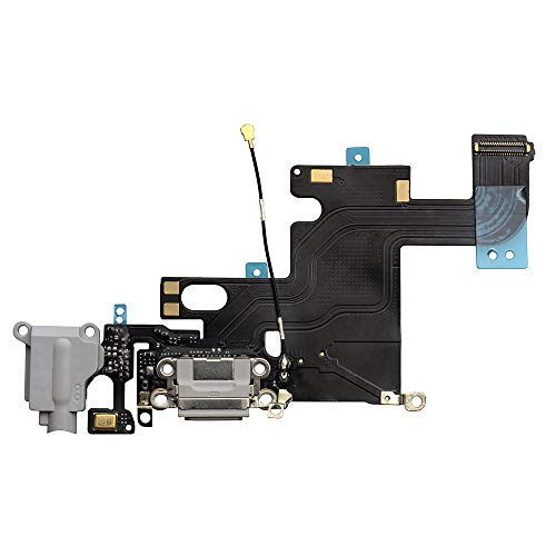 COHK USB Charging Port Dock Flex Cable with Microphone and Headphone Audio Jack Replacement for Phone 6 4.7 inchs Grey