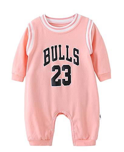 YANGLIXIA Kinder Baby Basketball Jersey Jordan Bulls #23, Sport Langarm Bodys Für Baby Kinder Set Jersey Fans Pink-90(cm)