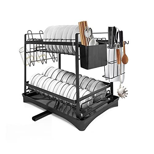Surmounty Escurridor de platos de 2 pisos con soporte para cubiertos, tabla de cortar, bandeja de goteo, color negro