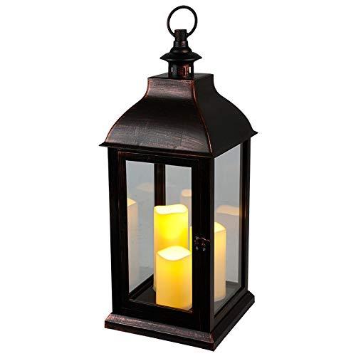 BURI Deko-Laterne schwarz 3 LED-Kerzen Flackereffekt Weihnachtsdeko Gartendeko Timer