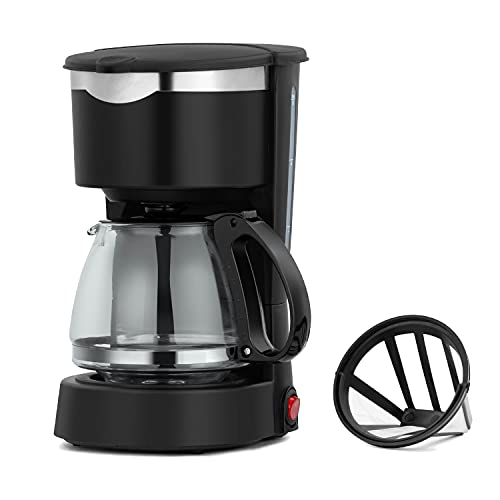 Drip Coffee Maker Small 4-Cup 600ml Visible Gauge Water Tank Coffee Machines 650W with Anti-Leaking Hole Carafe Coffee Pot Include Reusable & Removable Coffee Filter